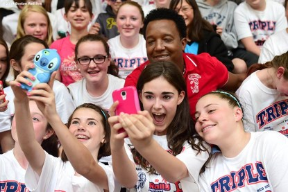 """""""Former Boston Red Sox pitcher Pedro Martinez poses for a selfie with students during a visit to Furnace Brook Middle School in Marshfield, Massachusetts Tuesday, May 27, 2014 as part of the Rally Against Cancer Program, a collaborative effort between the Red Sox and the Jimmy Fund to raise money for cancer research and care."""""""