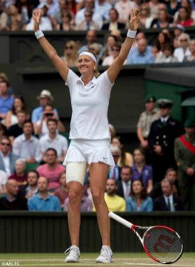 """""""Petra Kvitova reacts after winning the ladies' singles final against Eugenie Bouchard on Centre Court at the All England Lawn and Tennis Club in London, England Saturday, July 5, 2014 during the 2014 Championships Wimbledon."""""""
