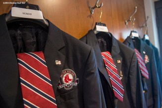 """""""The jackets of Boston Red Sox Class of 2014 Hall of Fame inductees Nomar Garciaparra, Pedro Martinez, Roger Clemens, and Joe Castiglione hang during the 2014 Hall of Fame luncheon at Fenway Park in Boston, Massachusetts Thursday, August 14, 2014."""""""