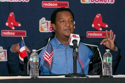 """""""Former Boston Red Sox pitcher Pedro Martinez addresses the media during a press conference after being informed that he was inducted into the Major League Baseball Hall of Fame at Fenway Park in Boston, Massachusetts Tuesday, January 6, 2015."""""""
