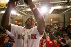 """""""Boston Red Sox third baseman Pablo Sandoval takes a selfie during a kids press conference during the Red Sox Winter Weekend at Foxwoods Resort and Casino in Ledyard, Connecticut Saturday, January 24, 2015."""""""