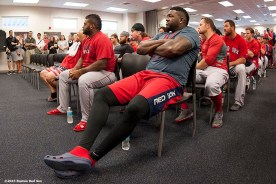 """""""Boston Red Sox players attend a team meeting at JetBlue Park in Fort Myers, Florida Wednesday, February 25, 2015."""""""
