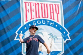 """""""A young fan plays catch during a team workout at JetBlue Park in Fort Myers, Florida Saturday, February 28, 2015."""""""