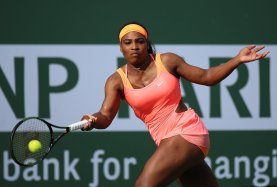 """""""Serena Williams in action against Zarina Diyas at stadium 1 at the Indian Wells Tennis Garden in Indian Wells, California on Sunday, March 15, 2015."""""""