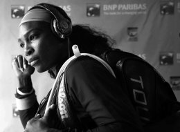 """""""Serena Williams walks through the tunnel prior to her match against Zarina Diyas at stadium 1 at the Indian Wells Tennis Garden in Indian Wells, California on Sunday, March 15, 2015."""""""