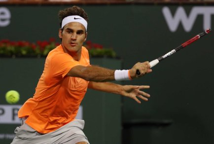 """""""Roger Federer in action against Andreas Seppi during their match at stadium 1 at the Indian Wells Tennis Garden in Indian Wells, California on Tuesday, March 17, 2015."""""""