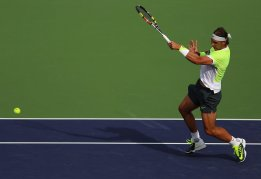 """""""Rafael Nadal in action against Donald Young during their match at stadium 1 at the Indian Wells Tennis Garden in Indian Wells, California on Tuesday, March 17, 2015."""""""