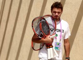"""""""Stan Wawrinka walks through the player area at the Indian Wells Tennis Garden in Indian Wells, California Wednesday, March 18, 2015."""""""