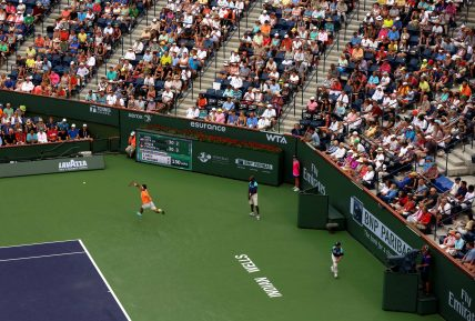 """""""Stadium 1 is shown during a match between Roger Federer and Jack Sock on day ten at the Indian Wells Tennis Garden in Indian Wells, California Wednesday, March 18, 2015."""""""
