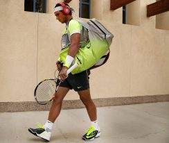 """""""Rafael Nadal walks toward stadium one before a match against Gilles Simon at the Indian Wells Tennis Garden in Indian Wells, California Wednesday, March 18, 2015."""""""