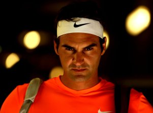 """""""Roger Federer looks on in the tunnel before a quarter-final match against Tomas Berdych on Stadium 1 at the 2015 BNP Paribas Open in Indian Wells, California on Friday, March 20, 2015."""""""