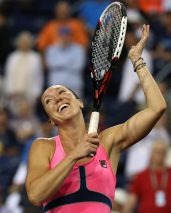 """""""Jelena Jankovic during a women's semi-final match against Sabine Lisicki on day twelve at the Indian Wells Tennis Garden in Indian Wells, California Friday, March 20, 2015."""""""