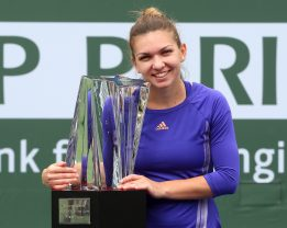 """""""Trophy Ceremony after the BNP Paribas Open Women's Singles Final between Simona Halep and Jelena Jankovic in Indian Wells, California on Sunday, March 22, 2015."""""""
