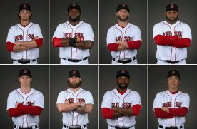 """""""Members of the Boston Red Sox pose for a portrait during team photo day at JetBlue Park in Fort Myers, Florida Sunday, March 1, 2015."""""""