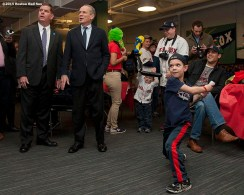 """""""Boston Red Sox President & CEO Larry Lucchino, Chairman Tom Werner and Boston Mayor Marty Walsh tour the Wally Clubhouse during a walk through of Fenway Park in Boston, Massachusetts Monday, April 6, 2015."""""""