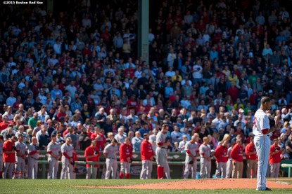 """""""Boston Red Sox pitcher Anthony Varvaro and members of the Washington Nationals pause for a moment of silence at 2:49 PM recognizing the anniversary of the Boston Marathon bombings during a game between the Boston Red Sox and the Washington Nationals at Fenway Park in Boston, Massachusetts Wednesday, April 15, 2015."""""""