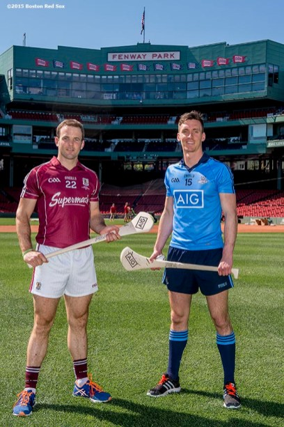 """""""Dublin hurling player Mark Schutte and Galway hurling player Dave Collins pose for a photograph during a press conference announcing the AIG Fenway Hurling Classic and Irish Festival Announcement, at Fenway Park in Boston, Massachusetts Tuesday, September 15, 2015."""""""