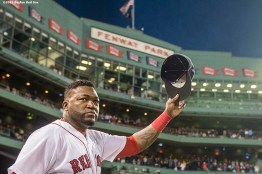 """""""Boston Red Sox designated hitter David Ortiz tips his cap as he is introduced during a ceremony recognizing his 500th career home run before a game against the Tampa Bay Rays at Fenway Park in Boston, Massachusetts Monday, September 21, 2015."""""""
