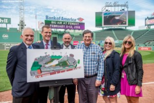 """""""Director of the Boston Convention and Visitors Bureau Pat Mascoritolo, Boston Red Sox Chief Executive Officer Sam Kennedy, Boston Director of Tourism for Sports and Entertainment Ken Brissette, and Larry Cancro, Beth Krudys, and Greta Buerman of Fenway Affairs pose for a photograph during a press conference announcing a Big Air ski and snowboard competition at Fenway Park in Boston, Massachusetts Tuesday, September 22, 2015."""""""