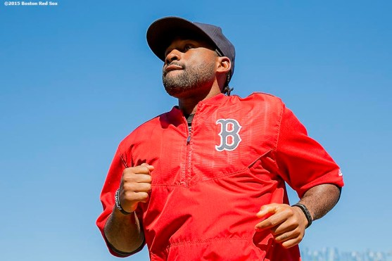 """""""Outfielder Jackie Bradley Jr. looks on during on-field photo day before a game between the Boston Red Sox and the Baltimore Orioles at Fenway Park in Boston, Massachusetts Sunday, September 27, 2015."""""""