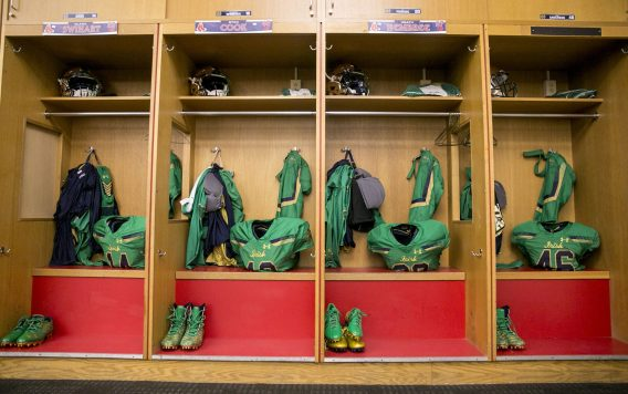 """""""The Notre Dame locker room is prepared during the Shamrock Series Football at Fenway game against Boston College at Fenway Park in Boston, Massachusetts Saturday, November 21, 2015."""""""