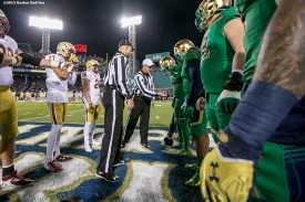 """""""The coin toss is held during the Shamrock Series Football at Fenway game between Notre Dame and Boston College at Fenway Park in Boston, Massachusetts Saturday, November 21, 2015."""""""