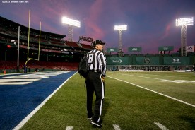 """""""A referee arrives on field during the Shamrock Series Football at Fenway game between Notre Dame and Boston College at Fenway Park in Boston, Massachusetts Saturday, November 21, 2015."""""""