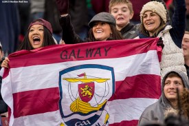 """""""Fans of Galway cheer during the AIG Hurling and Irish Festival between Galway and Dublin at Fenway Park in Boston, Massachusetts Saturday, November 22, 2015."""""""
