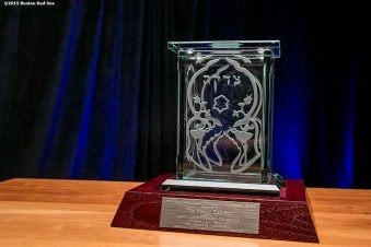 """""""An award honoring Boston Red Sox President & CEO Emeretus Larry Lucchino is shown during a B'Nai B'Rith event at Fenway Park in Boston, Massachusetts Tuesday, November 17, 2015."""""""
