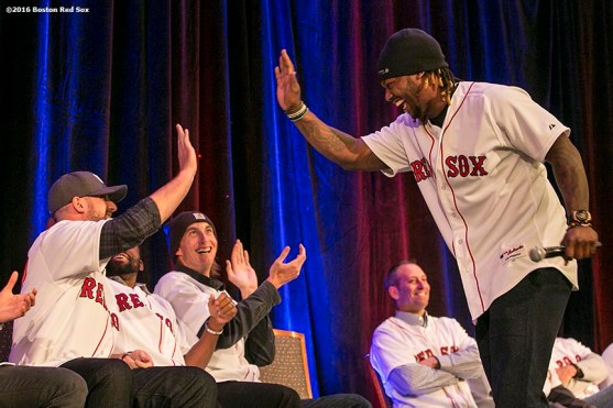 """""""Boston Red Sox left fielder Hanley Ramirez high fives third baseman Travis Shaw during a game show at the 2016 Winter Weekend at Foxwoods Resort & Casino in Ledyard, Connecticut Saturday, January 23, 2016."""""""