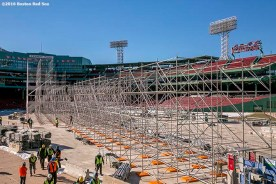 """""""Scaffolding is shown as construction continues on the Big Air at Fenway ski and snowboard ramp at Fenway Park in Boston, Massachusetts Thursday, January 21, 2016."""""""