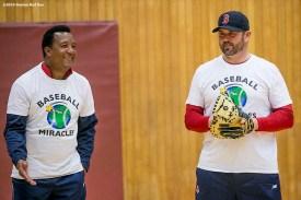 """Former Boston Red Sox pitcher Pedro Martinez and former catcher Jason Varitek speak to participants during a clinic Dexter High School in Brookline, Massachusetts Monday, February 2, 2016. """