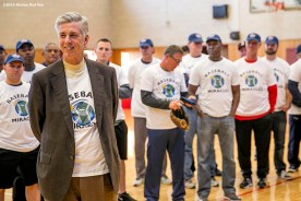 """""""Boston Red Sox President of Baseball Operations David Dombrowski speaks during a clinic Dexter High School in Brookline, Massachusetts Monday, February 2, 2016. """""""