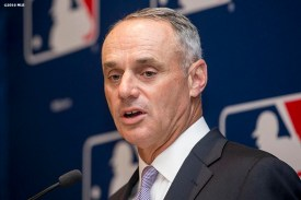 BONITA SPRINGS, FL. - FEBRUARY 19: Major League Baseball Commissioner Rob Manfred speaks during the Grapefruit League Media Availability at the Hyatt Regency Coconut Point on Friday, February 19, 2016 in Bonita Springs, Florida. (Photo by Billie Weiss/MLB Photos via Getty Images)