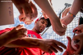 """""""Boston Red Sox pitcher David Price signs autographs during a workout at JetBlue Park in Fort Myers, Florida Saturday, February 20, 2016."""""""