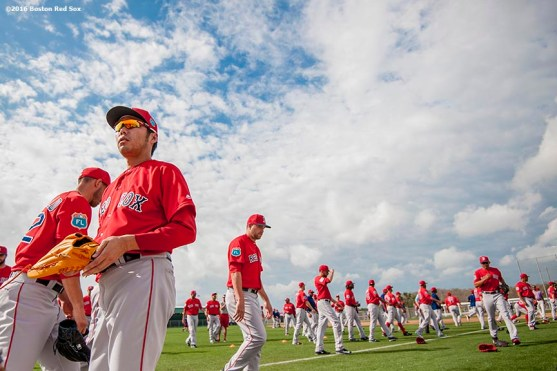 FT. MYERS, FL - FEBRUARY 24: Koji Uehara #19 of the Boston Red Sox attends a team workout on February 24, 2016 at Fenway South in Fort Myers, Florida . (Photo by Billie Weiss/Boston Red Sox/Getty Images) *** Local Caption *** Koji Uehara