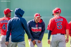 FT. MYERS, FL - FEBRUARY 25: Eduardo Rodriguez #52 of the Boston Red Sox laughs during a team workout on February 25, 2016 at Fenway South in Fort Myers, Florida . (Photo by Billie Weiss/Boston Red Sox/Getty Images) *** Local Caption *** Eduardo Rodriguez