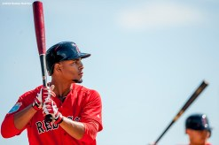 FT. MYERS, FL - FEBRUARY 25: Xander Bogaerts #2 of the Boston Red Sox takes batting practice during a team workout on February 25, 2016 at Fenway South in Fort Myers, Florida . (Photo by Billie Weiss/Boston Red Sox/Getty Images) *** Local Caption *** Xander Bogaerts