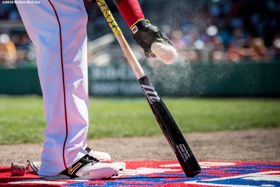 FT. MYERS, FL - MARCH 6: David Ortiz #34 of the Boston Red Sox prepares his bat on deck during a Grapefruit League game against the Baltimore Orioles on March 6, 2016 at JetBlue Park at Fenway South in Fort Myers, Florida . (Photo by Billie Weiss/Boston Red Sox/Getty Images) *** Local Caption *** David Ortiz