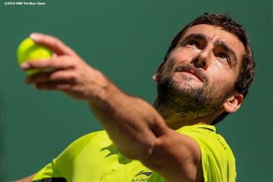 """""""Marin Cilic in action against David Goffin during the 2016 BNP Paribas Open at the Indian Wells Tennis Garden in Indian Wells, California Wednesday, March 17, 2016."""""""