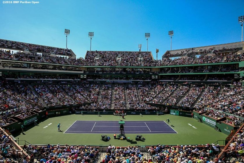 March 18, 2016, Palm Springs, CA: Jo-Wilfried Tsonga and Novak Djokovic in action during a quarter-final match during the 2016 BNP Paribas Open at the Indian Wells Tennis Garden in Indian Wells, California Friday, March 18, 2016. (Photos by Billie Weiss/BNP Paribas Open)