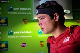 """""""Milos Raonic waits in the tunnel before playing against David Goffin in the men's semi-final match during the 2016 BNP Paribas Open at the Indian Wells Tennis Garden in Indian Wells, California Saturday, March 19, 2016."""""""