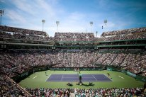 """""""The stadium is shown during the men's final match between Novak Djokovic and Milos Raonic during the 2016 BNP Paribas Open at the Indian Wells Tennis Garden in Indian Wells, California Sunday, March 20, 2016."""""""