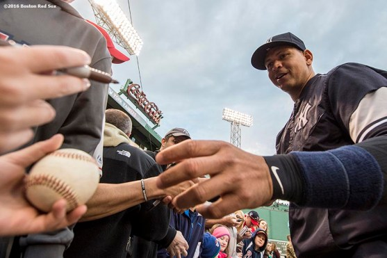 BOSTON, MA - APRIL 29: Alex Rodriguez #13 of the New York Yankees signs autographs before a game against the Boston Red Sox on April 29, 2016 at Fenway Park in Boston, Massachusetts . (Photo by Billie Weiss/Boston Red Sox/Getty Images) *** Local Caption *** Alex Rodriguez