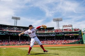 BOSTON, MA - MAY 14: Brock Holt #12 of the Boston Red Sox warms up before a game against the Houston Astros on May 14, 2016 at Fenway Park in Boston, Massachusetts. (Photo by Billie Weiss/Boston Red Sox/Getty Images) *** Local Caption *** Brock Holt