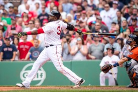 BOSTON, MA - MAY 14: David Ortiz #34 of the Boston Red Sox hits a game winning walk-off single during the eleventh inning of a game against the Houston Astros on May 14, 2016 at Fenway Park in Boston, Massachusetts. (Photo by Billie Weiss/Boston Red Sox/Getty Images) *** Local Caption *** David Ortiz