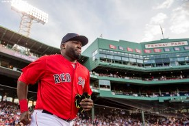BOSTON, MA - MAY 20: David Ortiz #34 of the Boston Red Sox is introduced during a Red Sox Hall of Fame Class of 2016 ceremony before a game between the Boston Red Sox and the Cleveland Indians on May 20, 2016 at Fenway Park in Boston, Massachusetts. (Photo by Billie Weiss/Boston Red Sox/Getty Images) *** Local Caption *** David Ortiz