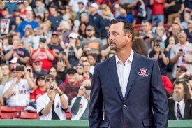 BOSTON, MA - MAY 20: Former Boston Red Sox pitcher Tim Wakefield is introduced during a Red Sox Hall of Fame Class of 2016 ceremony before a game between the Boston Red Sox and the Cleveland Indians on May 20, 2016 at Fenway Park in Boston, Massachusetts. (Photo by Billie Weiss/Boston Red Sox/Getty Images) *** Local Caption *** Tim Wakefield