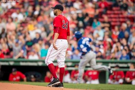 BOSTON, MA - JUNE 3: David Price #24 of the Boston Red Sox reacts as Edwin Encarnacion #10 of the Toronto Blue Jays hits a two run home run during the first inning of a game on June 3, 2016 at Fenway Park in Boston, Massachusetts. (Photo by Billie Weiss/Boston Red Sox/Getty Images) *** Local Caption *** David Price; Edwin Encarnacion