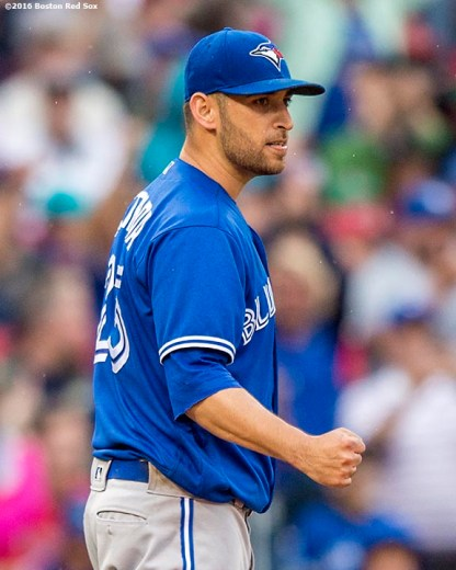 BOSTON, MA - JUNE 5: Marco Estrada #25 of the Toronto Blue Jays reacts during the seventh inning of a game against the Boston Red Sox on June 5, 2016 at Fenway Park in Boston, Massachusetts. (Photo by Billie Weiss/Boston Red Sox/Getty Images) *** Local Caption *** Marco Estrada